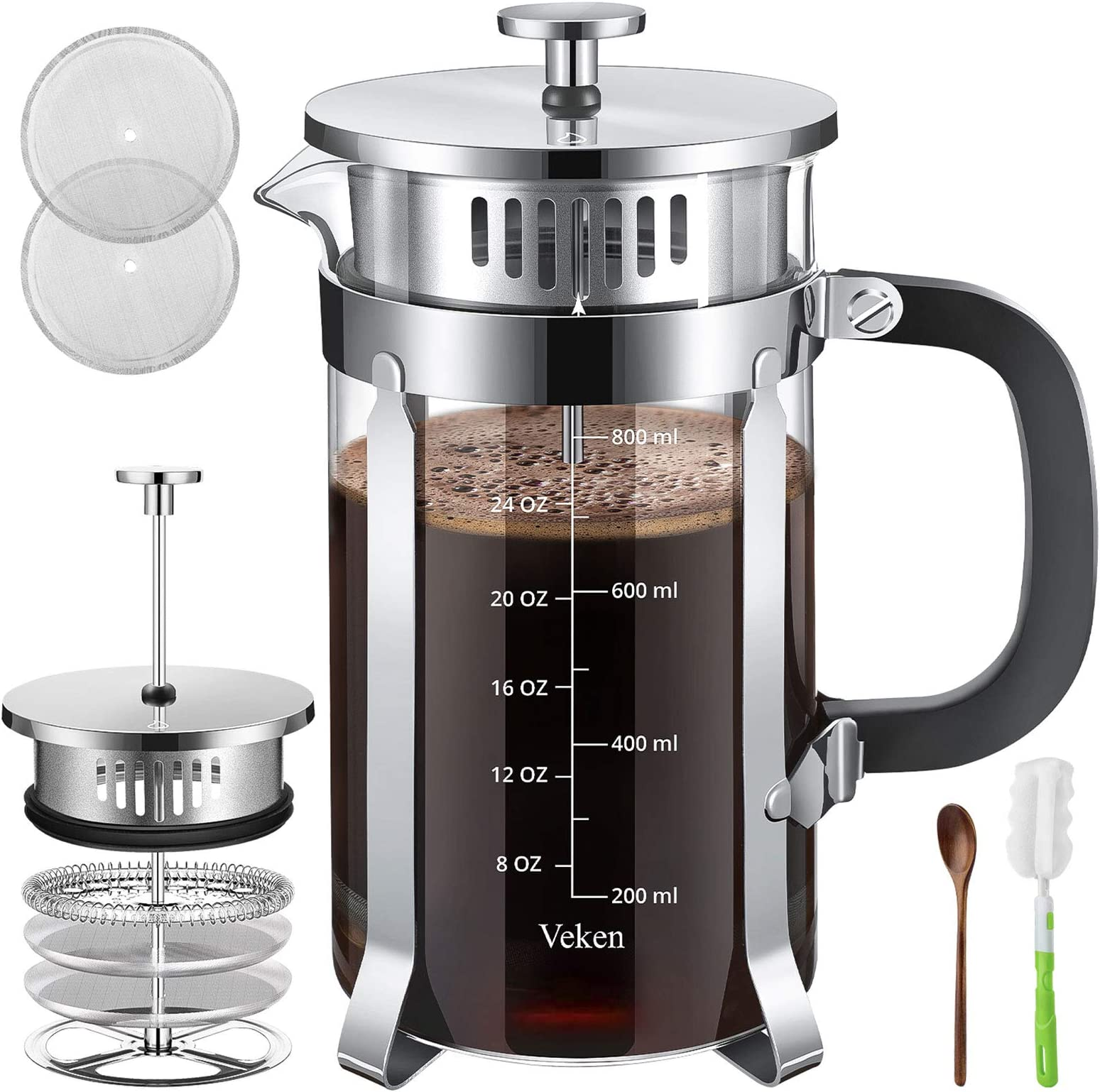 Veken French Press Coffee Tea Maker for Mothers Day(34 oz), Grandma Birthday Gifts 304 Stainless Steel Coffee Press with 4 Level Filtration System, Thickened Heat Resistant Borosilicate Glass, Silver