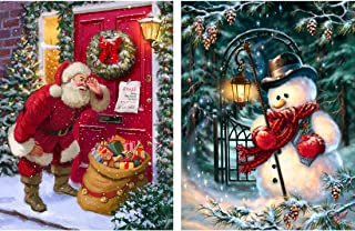 Yomiie 2 Pack 5D Diamond Painting Christmas Santa and Snowman Full Drill by Number Kits for Adults, Xmas Paint with Diamonds Art Rhinestone Craft Decor (12x16inch)