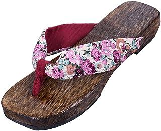 Jiyaru Womens Geta Sandals Floral High Heel Clog Flip Flop Slippers Wodden Japanese Style Footwear Two Teeth