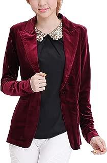 One Button Velvet Blazer Notched Lapels Stretchy Office Work Jacket