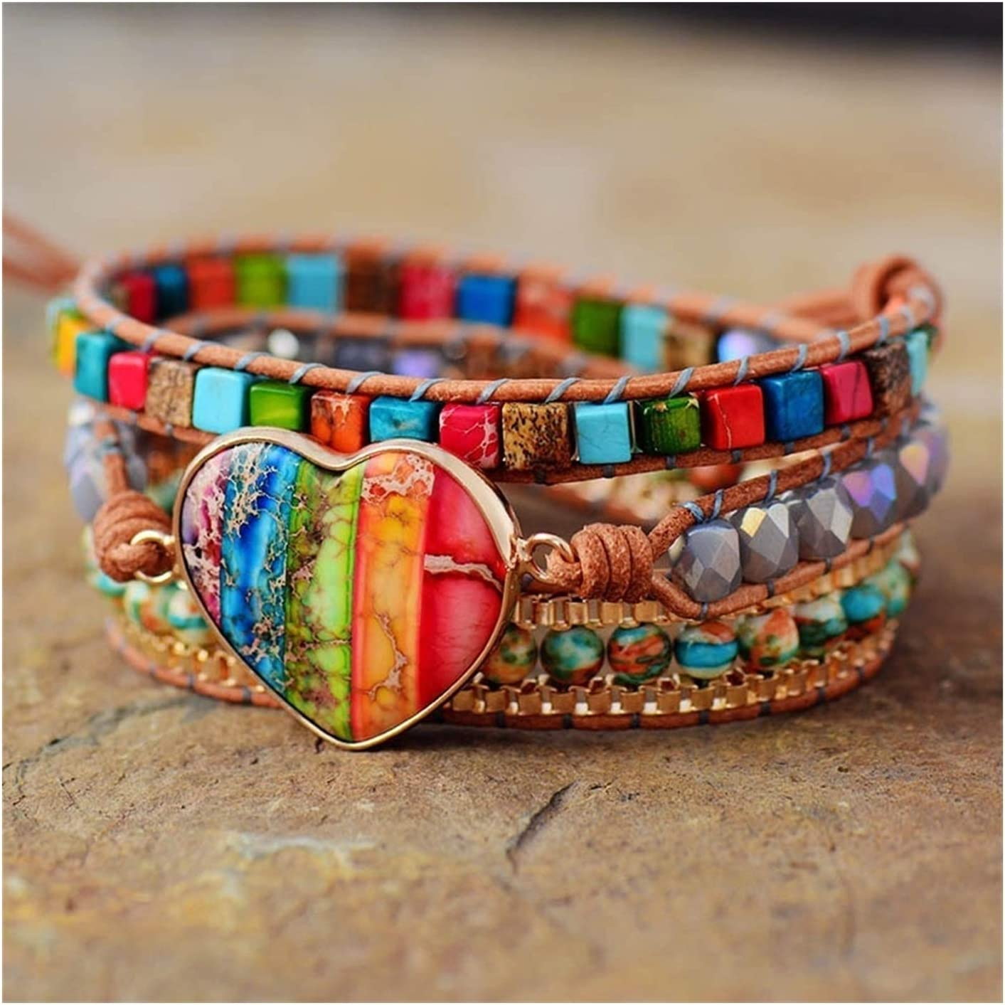 AOSUAI Chakra Leather Wrap Bracelets Mix 3 Heart Max 81% OFF Shape Discount is also underway Str Stone