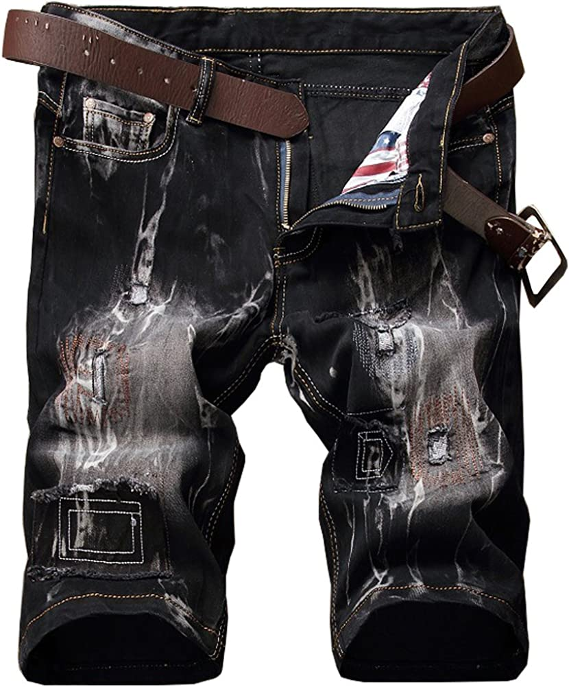 Shunht Men's Retro Distressed Ripped Denim Shorts Short Jeans