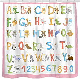Sunlit Alphabet Fabric Shower Curtain for Kids ABC Educational Learning Tool for Girls and Babies Large A to Z Poster Tapestry Waterproof Polyester Bathroom Curtains- Pink