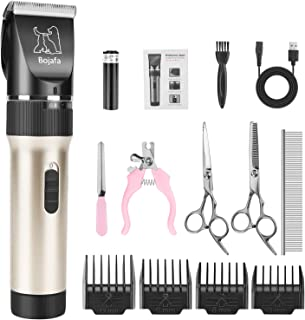Bojafa Dog Grooming Clippers Kit Cordless Rechargeable Professional Pet Grooming Clippers Quiet Low Noise for Dogs Cats Hair Clippers Shaver Set Dog Grooming Kit