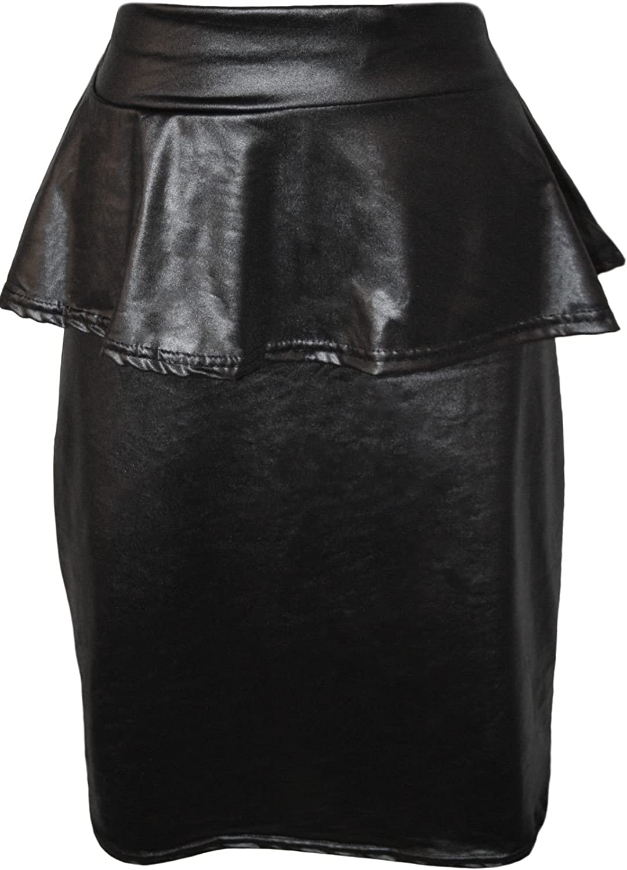 RM New Womens Wet Look Shiny Black Peplum Frill Ladies Stretch Bodycon Skirt