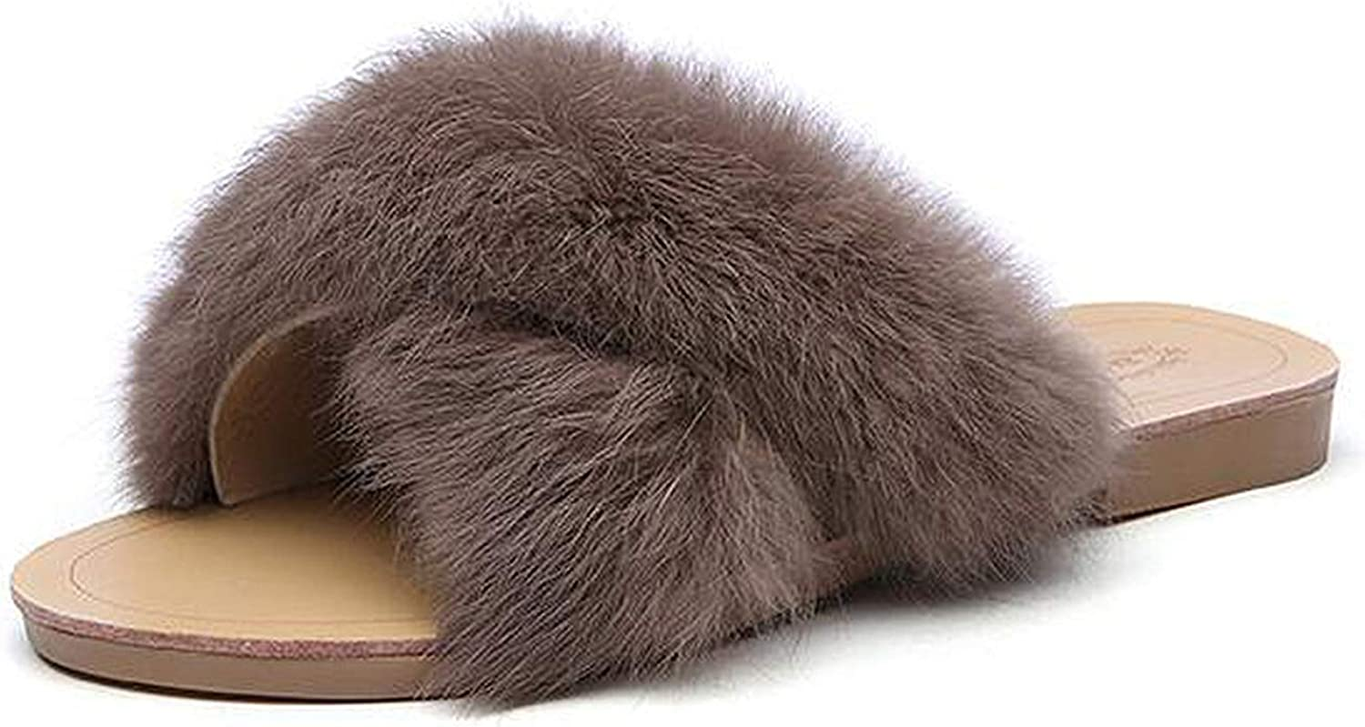 Women's Rabbit Fur Slippers Ladies Indoor Home Furry Soft Slippers Plush Solid Flat Slippers