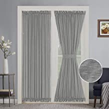Turquoize Elegant Soft Linen French Door Curtains Light Filtering Curtain Panel, Rod Pocket Door Panels - 52W by 72L Inches - Grey - 2 Panels