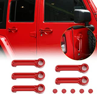 JeCar Door Handle Covers Tailgate Handle Covers Exterior Accessories for 2007-2018 Jeep Wrangler JK JKU / 2008-2012 Jeep Liberty / 2007-2011 Dodge Nitro, Red