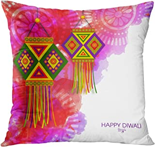 Benxii Throw Pillow Cover Creative Colorful Hanging Lamps Abstract Floral Traditional Festival Home Durable Soft Decorative Polyester Pillowcase Square Cushion Couch for Sofa 20x20 Inches