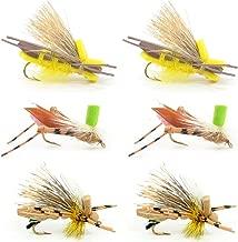 6 Foam Body Hopper Grasshopper Trout Fly Fishing Flies Assortment - 6 Flies 3 Patterns Hook Size 10 - Trout Fly Collection