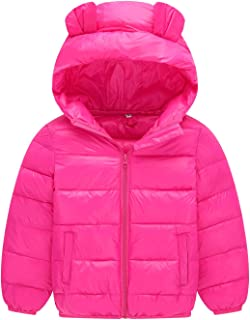 Happy Cherry Girls Boys Winter Coat Packable Puffy Padded Outerwear Zip up Hooded Jacket 2-7T