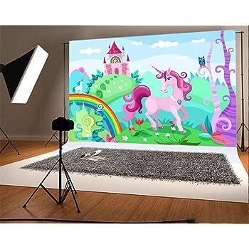 YongFoto 2,2x1,5m Vinile Sfondo Fotografico Unicorno DOro Stelle Lucenti Rosa Dolci Nuvole Cielo Fondale Foto Compleanno Festa Baby Shower Bambini Bambino Ragazze Bandiera Studio fotografico puntelli