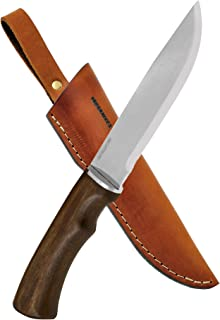 BPS Knives BK06 Camp Bushcraft Knife With Leather Sheath - Large Hunting Outdoor Knife Fixed Blade Stainless Steel Camping Knife EDC Sharp Scandi Grid Hard Wood Walnut Handle Scandinavian Sharpening