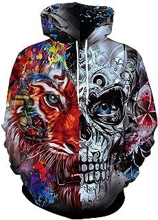 ZHYIYI Tiger Skull Sweater Diseño De Impresión En 3D Sudadera con Capucha Sudadera con Cordón De Moda Espesar Top De Manga...