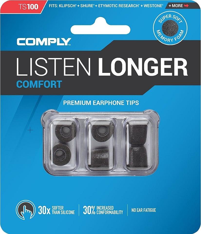 宣教師これまで耳COMPLY (コンプライ) イヤホンチップ Ts-100 ブラック Mサイズ 3ペア (並行輸入品)