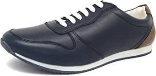 Marc Loire Men Casual Lace-Up Shoes, Faux Leather Sneakers, Available Colours - Navy Blue & Brown