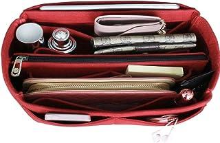 Bag Organiser Insert Handbag, Bag in Bag, Purse Insert, Tote Organiser, Cosmetic Makeup Handbag (with Detachable Middle Zipper Bag) Black-M (Medium, Red)