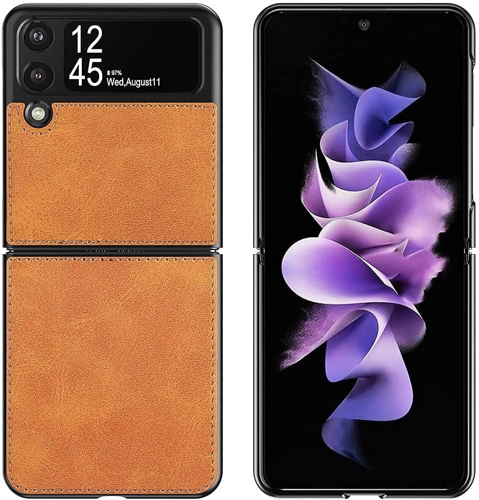 Cresee Compatible with Samsung Galaxy Z Flip 3 5G Case, PU Leather Back Cover + Hard PC Protective Shell Thin Fit Phone Case for Galaxy Z Flip3 2021 - Tan