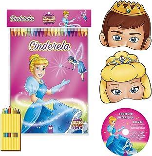 6e1e6114b Livro Infantil Colorir Super Kit Cinderela com Giz + Masculino x 1 Unidade,  Vale das