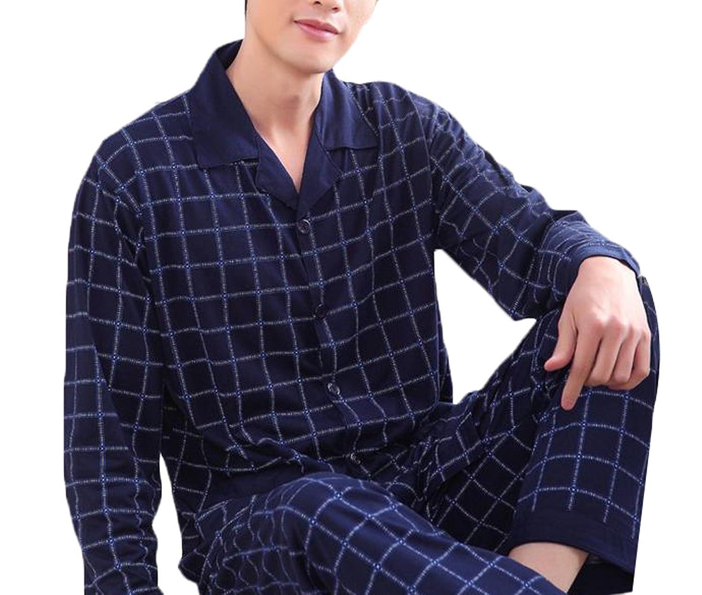 Genericメンズ夏ファッションカジュアルチェック柄長袖パジャマセット