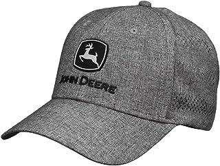 قبعة رجالي سوداء ومطرزة من John Deere Tractors باللون الفضي من خامة الجرار، رمادي