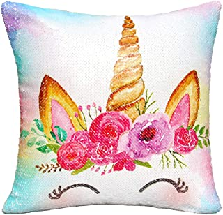 MHJY Unicorn Pillow with Insert,Magic Reversible Sequins Mermaid Pillow 16