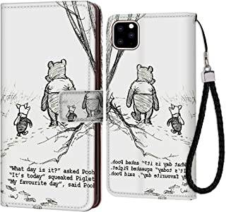 DISNEY COLLECTION Leather Wallet Case Fit for iPhone 11 Pro 5.8-Inch Winnie The Pooh Drawings Drop Protection