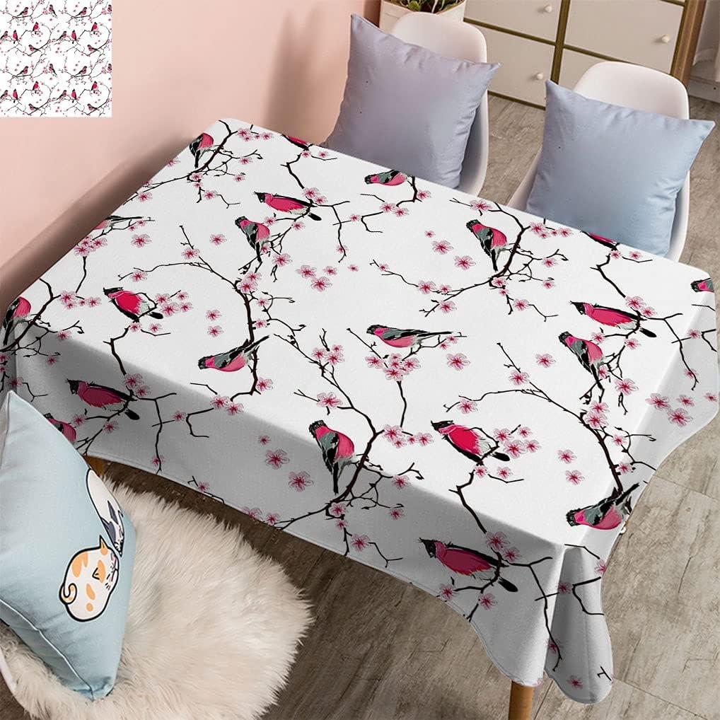 Vintage House Decor Oblong Tablecloth The Sakura gift on Bullfinches Save money