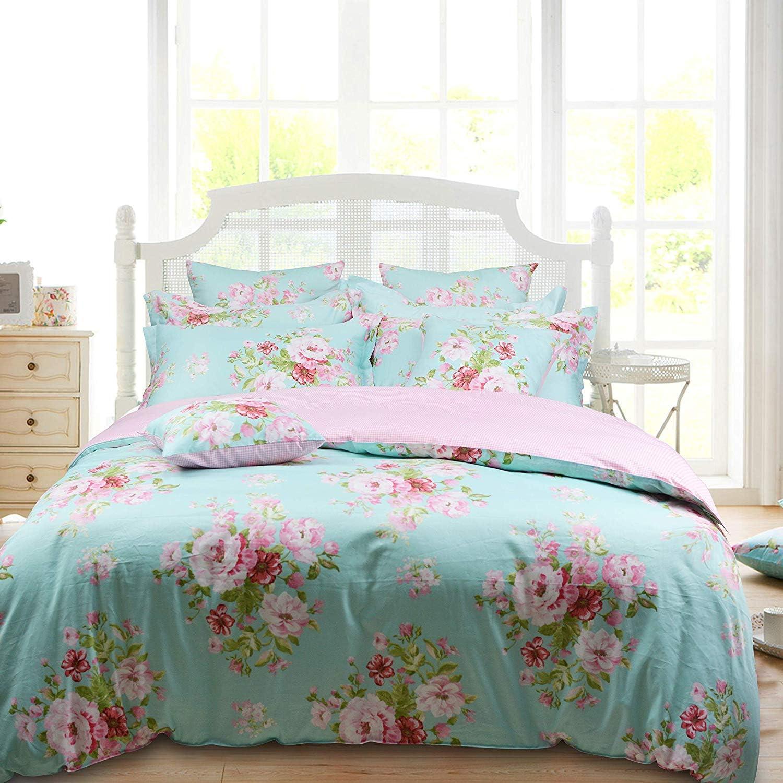 Virginia Beach Mall Max 43% OFF Shabby Farmhouse Pink Rose Floral Duvet 100% Cover Set 3P Cotton