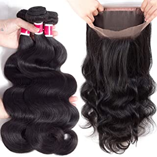 Funky girl Hair Lace Frontal Closure With Bundles Brazilian Body Wave Bundles With Frontal 360 Natural Color Unprocessed Human Hair Bundles With Frontal (16 18 20 With 14)