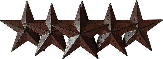 CVHOMEDECO.乡村乡村复古礼品金属谷仓星星墙壁/门装饰,5-1/2 英寸,6 件套。(酒红色)