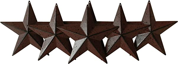 CVHOMEDECO. Country Rustic Antique Vintage Gifts Metal Barn Star Wall/Door Decor, 5-1/2 Inch, Set of 6. (Burgundy)