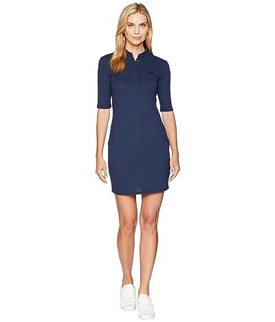 Lacoste 1/4 Sleeve Classic Stretch Mini Pique Polo Dress (Navy Blue) Women