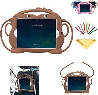 iPad Mini 1/2/3/4 Case 7.9 inch for Kids, Uliking Silicone Gel Soft Cute Animal 3D Cartoon Kid Proof EVA Cover with Non-Toxic Handle Stand Shockproof Bumper for Apple iPad Mini 4/3/2/1, Coffee Monkey