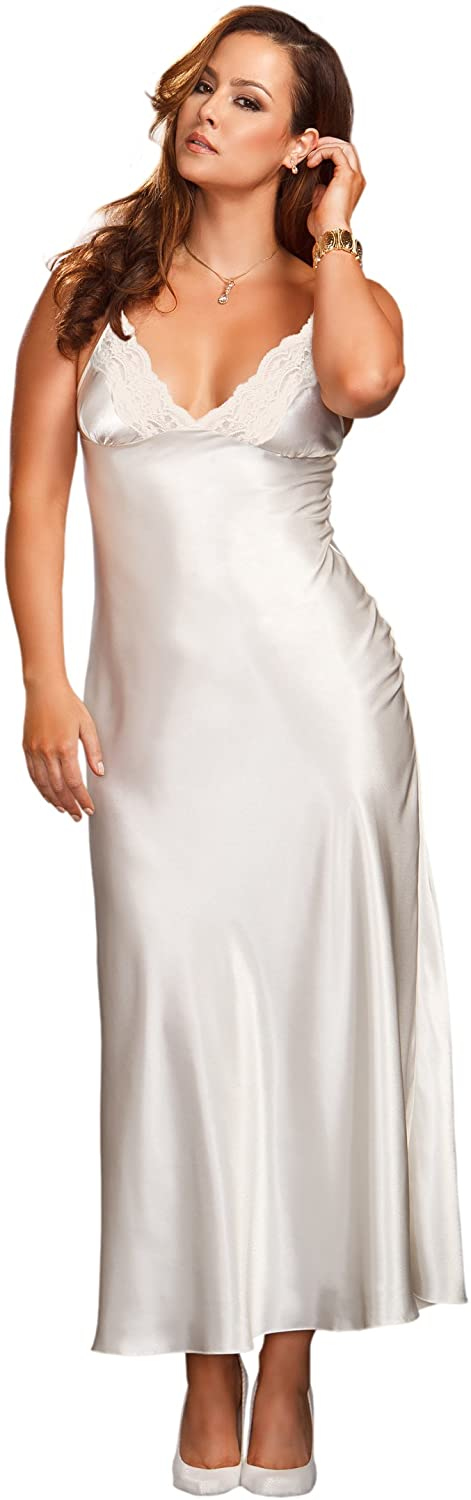 iCollection Womens Plus-Size Long Lace Trimmed Satin Gown