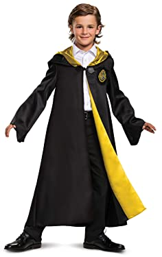 Disguise Harry Potter Hogwarts Robe Deluxe Children's Costume Accessory, Black and Gold, Kids Size Medium (7-8)
