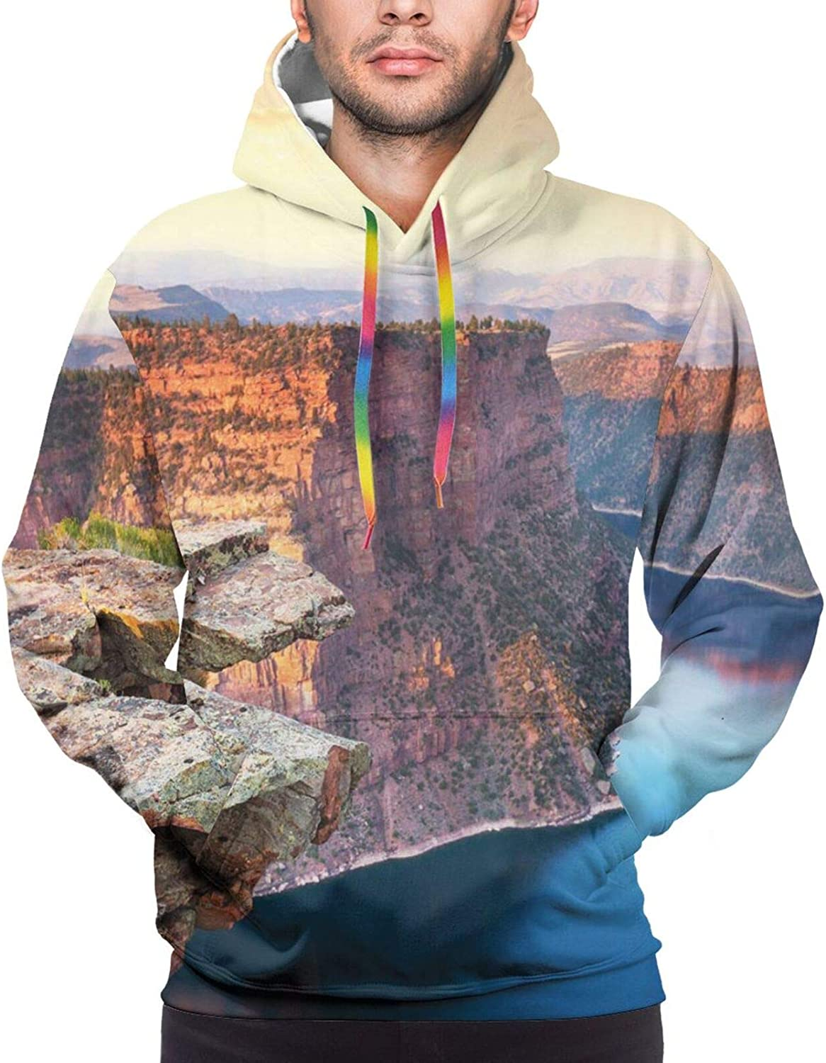 TENJONE Men's Hoodies Sweatshirts,Aerial View of Pine Forest by The Lake Beneath Mountain Pastoral Landscape