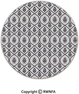 Art Deco Non-Slip Super Soft Children Play Carpet,Oriental Middle Eastern Civilizations Inspired Floral Rope Frame Design Decorative 2' Diameter Dark Blue White,Sofa Bath Floor Mat