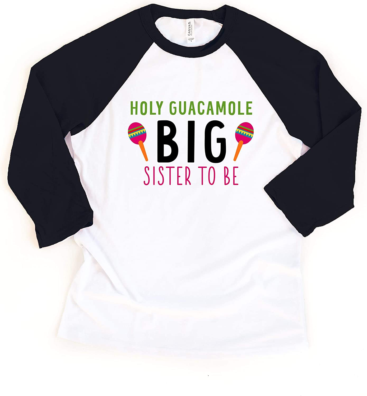 Little Spunkies Holy Guacamole Big Sister to Be Toddler Cinco De Mayo Girl Raglan Tee