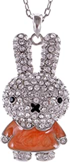 Alilang Rabbit Pendant Cute Animal Bunny Rhinestone Necklace for Women Gift