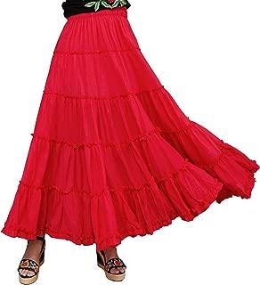 Womens Elastic Tiered Boho Long Circle Broomstick Peasant Skirt Dance