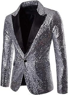 Mens Sequin One Button Fit Suit Jacket Metallic Casual Blazer Nightclub Style Long Sleeve Shiny Dance Tops Disco Varsity B...