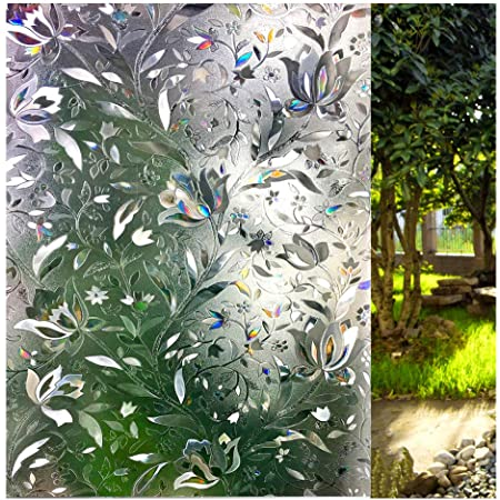 3D Static Cling Frosted Flower Glass Door Window Film Privacy Sticker Decors US!
