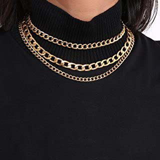 Denifery Punk Cuban Thick Link Chain Choker Necklace Layered Gold Chunky Chain Necklace Boho Jewelry Set Layered Pendant S...