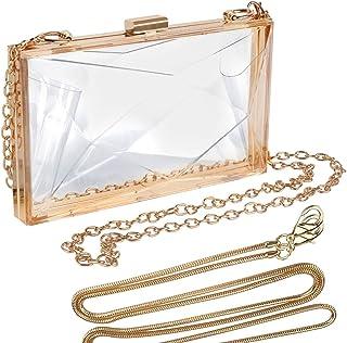 Women Clear Purse, Acrylic Box Evening Clutch Bag, Transparent Lady Party Wedding Banquet Bag, Stadium Approved Crossbody ...
