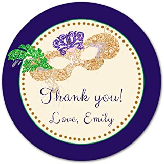 40 Personalized Stickers Blue Green Gold Masquerade Design Thank You Party Favor Birthday Sweet 16 Quinceanera Carnival Gift Label