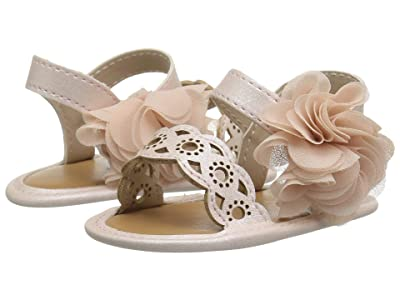 Baby Deer Sandal with Chiffon Flower Waddle (Infant) (Blush) Girls Shoes
