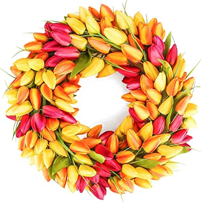BOMAROLAN Tulip Wreath 20 Inch for Front Door Summer Fall Large Wreaths Springtime All Year Around for Outdoor Door Indoor Wall Or Window Décor Festival Decoration