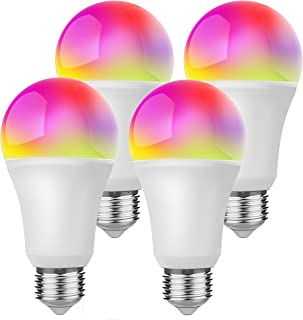 Smart Light Bulb App Controlled Color Changing Dimmable E26 LED Light Bulbs with Timer 5000K Daylight 850 Lumens 60 Watt Equivalent No Hub Required UL Certified WiFi Bulbs 4 Pack