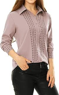 Women's Tile Print Long Sleeves Point Collar Button Shirt